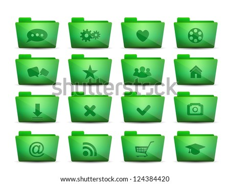 Green vector folder icons