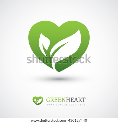 green vector icon with heart
