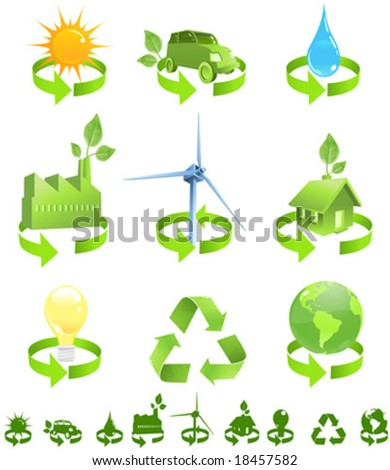 Green vector icons show forms of recycled energy including sun, wind, water and environmental friendly house, car, factory, electricity and planet earth. Silhouette symbols included