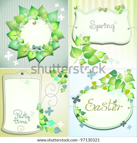 Green vector labels for greeting cards or card name for Easter or garden party