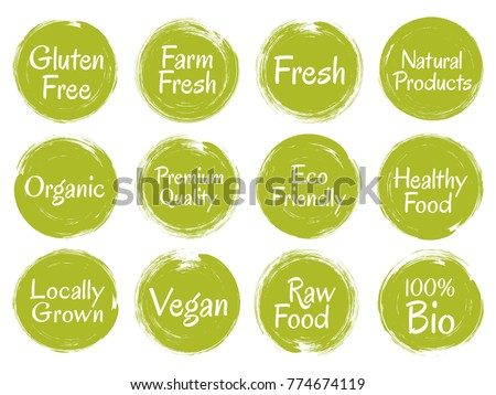 Green vector organic labels, bio emblems for restaurants menu, natural products packaging. Vegan, gluten free, fresh raw healthy food, premium quality, locally grown eco friendly stamps on white.