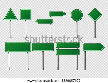 Green vector road traffic signs. Road board text panel, mockup signage direction highway city signpost location street arrow way vector set Blank traffic label. Warning caution, attention, stop banner