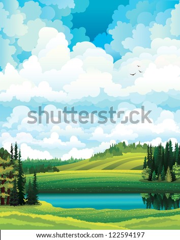 green vector summer landscape