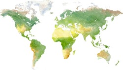 Green vector world map in watercolor style