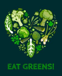 Green vegetables icon set heart shape poster vector illustration