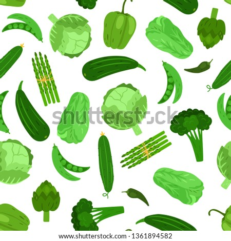 Green vegetables seamless pattern. Cabbage broccoli and cucumber. Vector vegetarian vegetable, zucchini and salad illustration #1361894582