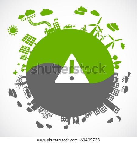 green versus gray - sustainable development concept