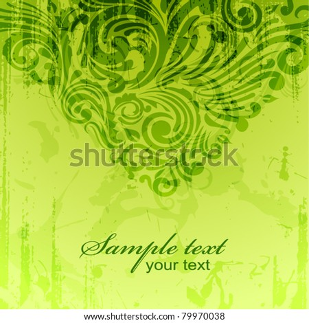 Green vintage background with floral scrolls and watercolor effect