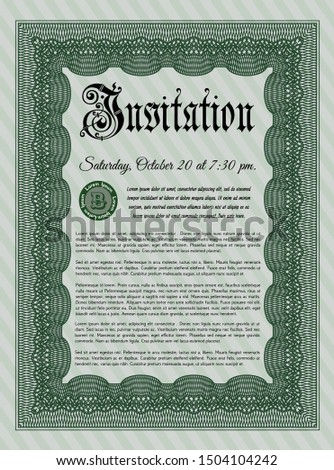 Green Vintage invitation template. Sophisticated design. Customizable, Easy to edit and change colors. With great quality guilloche pattern.