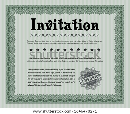Green Vintage invitation. With linear background. Cordial design. Customizable, Easy to edit and change colors.