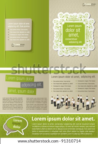 Green vintage template for advertising brochure with business people