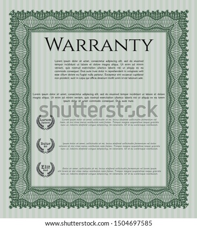 Green Vintage Warranty Certificate template. With background. Customizable, Easy to edit and change colors. Good design.