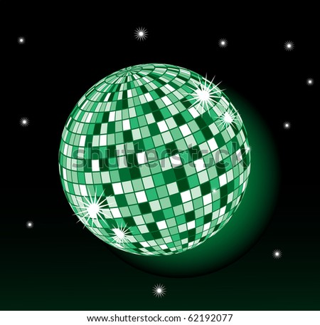 green violet disco-sphere on a black background with stars