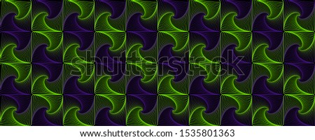 Green violet interlocking fractal tessellations geometric seamless pattern vector design. Fractal optical illusion abstract background with tiles. Interlocking geometric curve lines texture seamless.