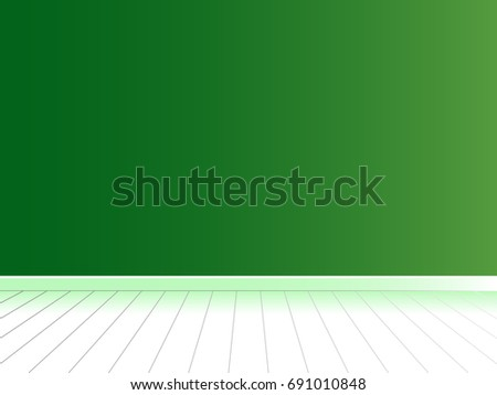 Green wall with white floor, empty room interior, background vector
