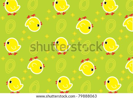 Green wallpaper with yellow chickens and eggs