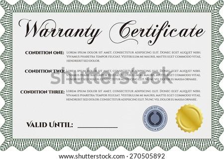 Green warranty certificate template
