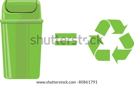 Green waste recycle can or bin with symbol