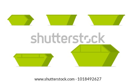 green waste skip bin icon set