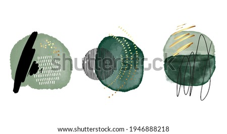 Green watercolor acrylic ink emerald shapes, contrast geometric print with gold elements. Minimalist graphic canvas, vector