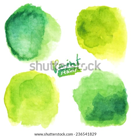 green watercolor painted vector