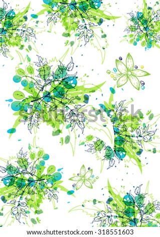 green watercolor splash