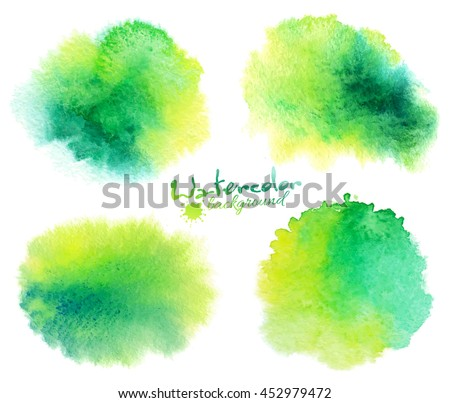 green watercolor stains vector
