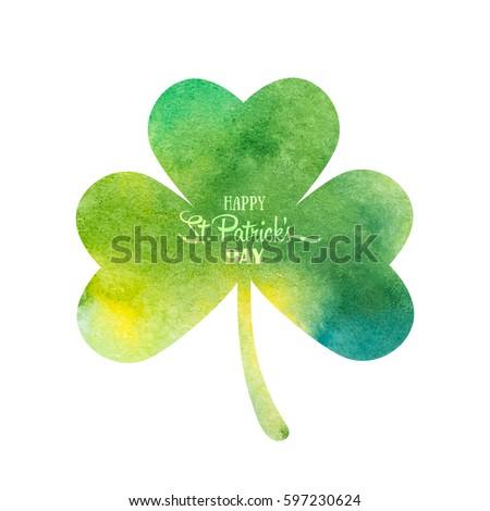 Green watercolor trifolium clover. Irish holiday Saint Patrick's Day. Green watercolor trifolium clovers. Irish holiday. Vector illustration for greeting card, poster, banner