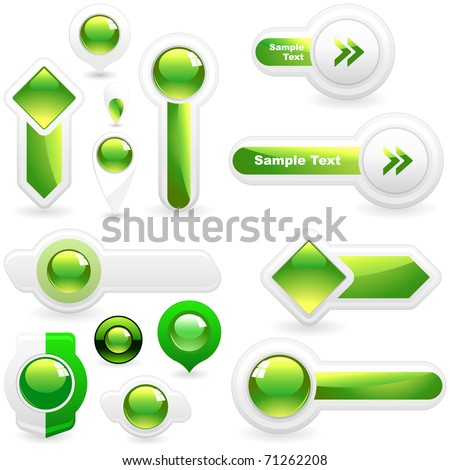 Green web button set. Online bubble icon for menu. Abstract gel sphere. - stock vector