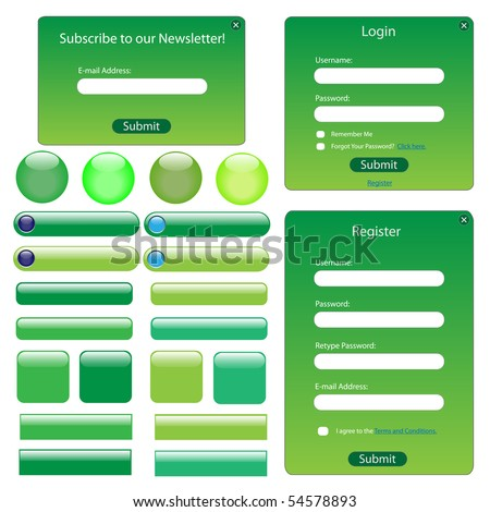 Green web template with forms, buttons and bars.