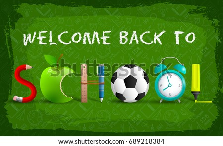 Green welcome back to school background sign for website design or presentation on the Internet vector illustration