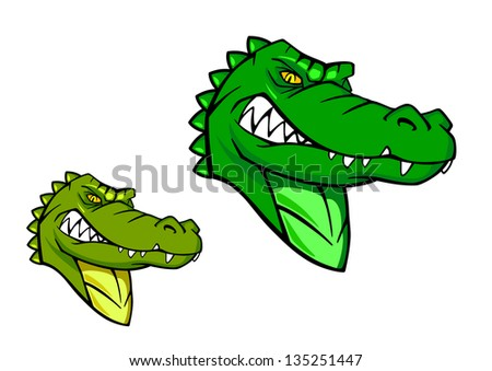 Green wild alligator in cartoon style for sports mascot design. Jpeg version also available in gallery