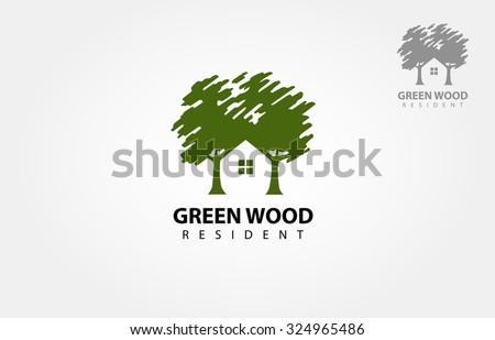 green wood resident vector logo
