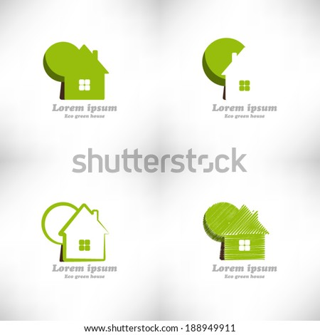 Green wooden eco house. Ecology living concept icon