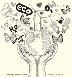 Green world concept. Tree on the earth in hands . Ecology doodles icons vector set.
