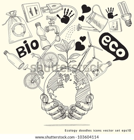 Green world concept. Tree on the earth in hands . Ecology doodles icons vector set