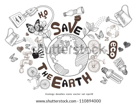Green world drawing concept. Save the earth. Ecology doodles icons vector set. jpg version also available