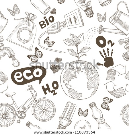 Green world drawing Save the earth concept. Ecology doodles icons vector seamless.