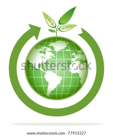 green world for recycling, go green