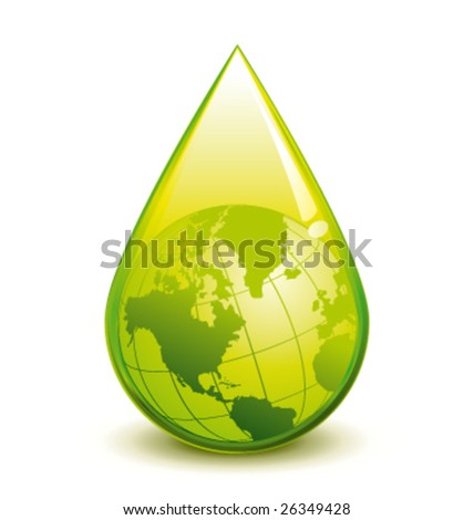 Green world in a droplet vector illustration