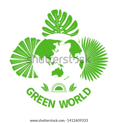 Green world leaves silhouette analysis icons Greenpeace vector set elements modern abstract design linear eco logo emblem green planet nature collection tree healthy food vector symbol set