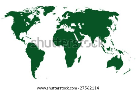 world map vector image. stock vector : green world map