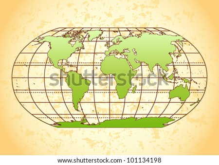 green world map with grunge...