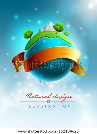 Green world nature concept vector illustration. Elements are layered separately in vector file.