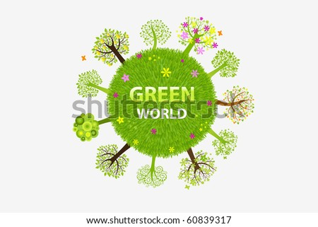 Green World  With Trees, Isolated On White Background, Vector Illustration