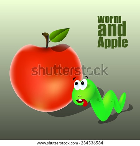 green worm and apple