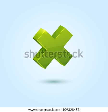 Green X mark symbol isolated on blue background. This vector icon is fully editable.