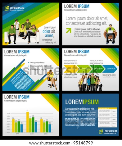 Green, yellow and blue template for advertising brochure with business people