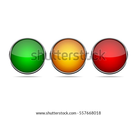 Green, yellow and red round buttons, with a metal frame. Vector illustration. Three round buttons isolated on white background.
