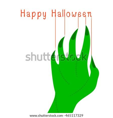 green zombie  hand halloween